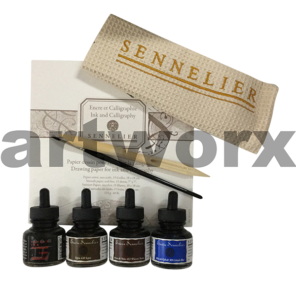 Sennelier Calligraphy Set with Inks, Pad & Brush
