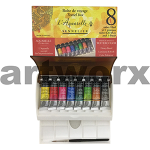 8x10ml + Brush Sennelier Aquarelle Travel Set