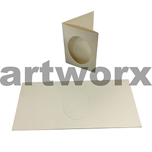 Cream Oval 3 Fold C6 Cards & Envelope 10pcs Upikit 5 Cards & 5 Envelopes