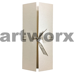 Three Fold Card With Ribbon Slot Metallic Cream Folded