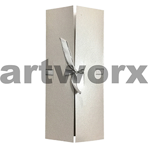 Three Fold Card With Ribbon Slot Metallic White Folded