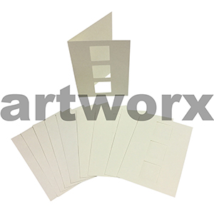 Cream 3 Squares Cut C6 Cards & Envelope 10pcs Upikit 5 Cards & 5 Envelopes