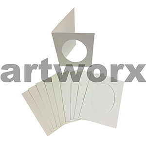 Cream Oval Cut C6 Cards & Envelope 10pcs Upikit 5 Cards & 5 Envelopes