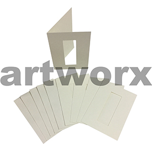 Cream Rectangle Cut C6 Cards & Envelope 10pcs Upikit 5 Cards & 5 Envelopes