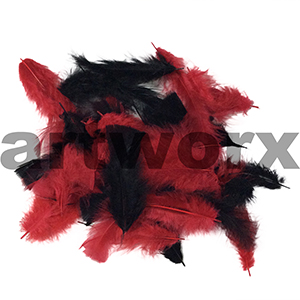 Red & Black Bag of Feathers 10gm