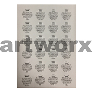 Warning Label 40mm Round (Soy) 1 sheet Woodfree Surface