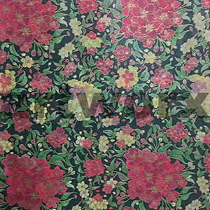 Yellow Red Flowers on Green Japanese Rice Paper 50x75cm