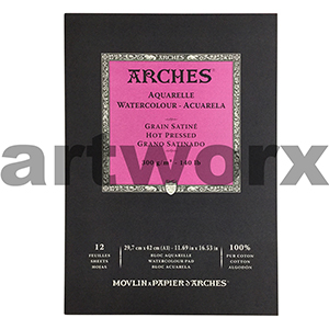 300gsm A3 12 Sheet Hot Press Arches Pad