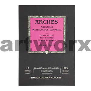 300gsm A4 12 Sheet Hot Press Arches Pad