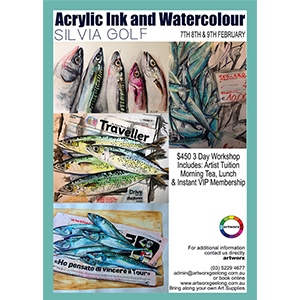 7th 8th & 9th of February 3 Day Acrylic Ink & Watercolour Workshop