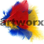 Yellow Red & Blue Bag of Feathers 10gm