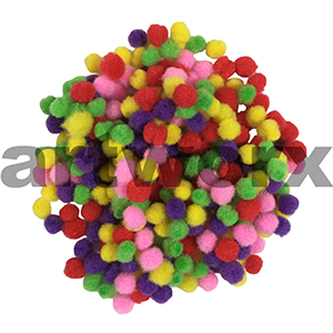 Pom Pom Mixed Coloured Pack 34pc