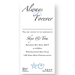 Seaside Wedding Invitation & Acceptance Card Template DL