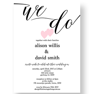 Two Hearts Wedding Invitation & Wishing Well Template 130x180mm