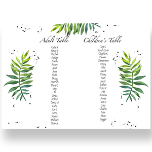 A3 or A2 Green Leaf Seating Chart