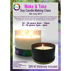 9 - 12 years 1pm to 4pm Kids Soy Candle Making Class