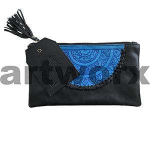 AMA Leather Pencil Case Dreamweaver Style Ivory Black with Azure Blue