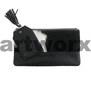 AMA Leather Pencil Case Hide Strip Style Fresian Black