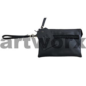 AMA Leather Pencil Case Triple Nappa Ivory Black