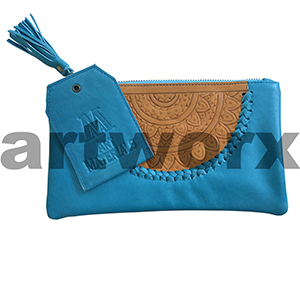 AMA Leather Pencil Case Dreamweaver Style Lapis Lazuli Blue