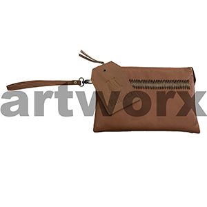 AMA Leather Pencil Case Triple Nappa Style Saddle Bag Brown