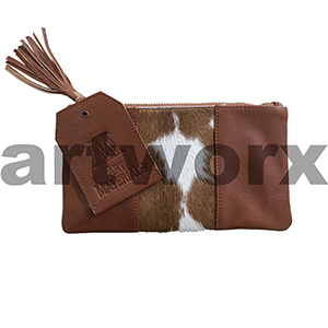 AMA Leather Pencil Case Hide Strip Style Guernsey Saddle Bag Brown