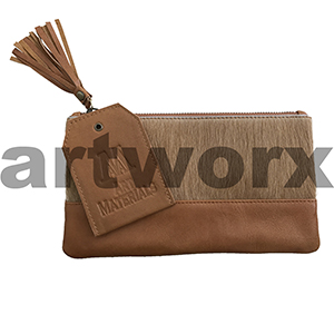 AMA Leather Pencil Case Half Hide Style Jersey Brown