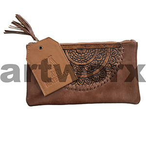 AMA Leather Pencil Case Dreamweaver Style Saddle Bag Brown