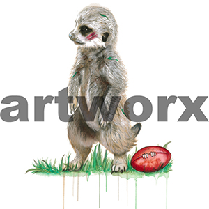 A2 Meerkat Football Limited Edition Print on Cotton Rag Paper
