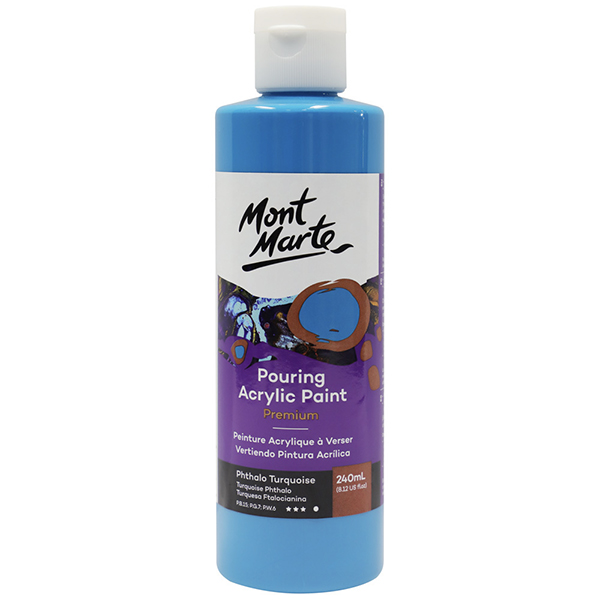 Phthalo Turquoise Pouring Paint 240ml Mont Marte