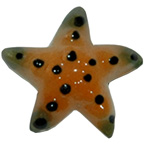Ceramic Starfish Brown and Green Miniature