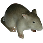 Miniature Ceramic Rat Grey