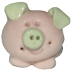 Ceramic Pig Pink and Green Miniature