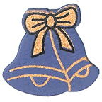 Craft Wood Christmas Bell Blue Embellishment