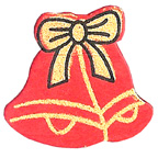 Craft Wood Christmas Bell Red Embellishment