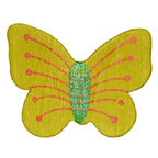 Craft Wood Butterfly Yellow with Green Body Embellishment