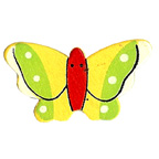 Craft Wood Butterfly Yellow with Red Body Embellishment