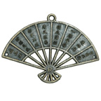 Metal Embellishment Bronze Chinese Fan