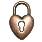 Metal Embellishment Bronze Heart Padlock