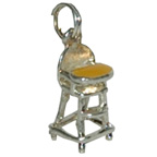 Metal Embellishment Silver Baby High Chair