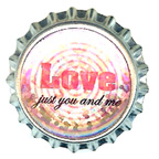 Metal Embellishment Bottle Top Love Just You and Me