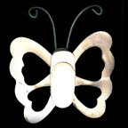 Metal Embellishment Butterfly Silver/White