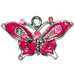 Metal Embellishment Bright Pink Butterfly With Rhinestones