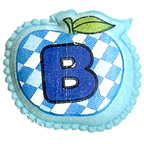 Apple B Blue Embroidery Embellishments