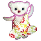 White Teddy Bear Embroidery Embellishment