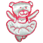 Pink and White Teddy Bear Ballerina Embroidery Embellishment