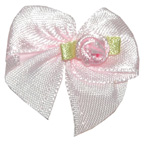 Bow with Pink Flower Embroidery Embellishment