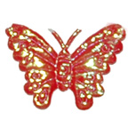 Orange Metallic Butterfly Embroidery Embellishment