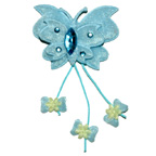 Fabric Butterfly Blue with Gem Stones Embellishment