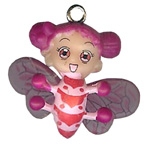 Bug Girl Pink Charm Embellishment